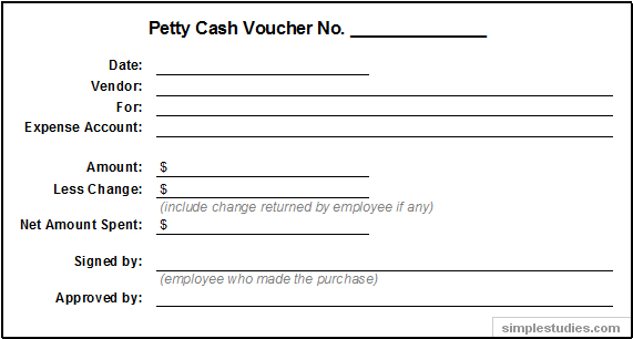Example of Petty Cash Voucher http://simplestudies.com/accounting-and-procedures-for-petty-cash.html
